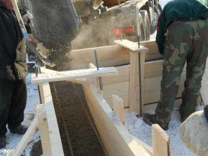 Заливка нагретого бетона