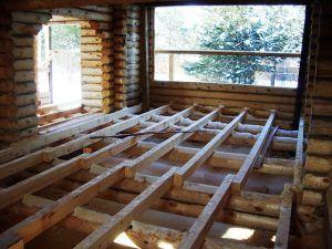 Монтаж перекрытия по деревянным балкам