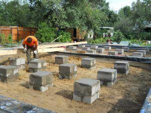Опорно-столбчатые фундаменты из бетонных блоков